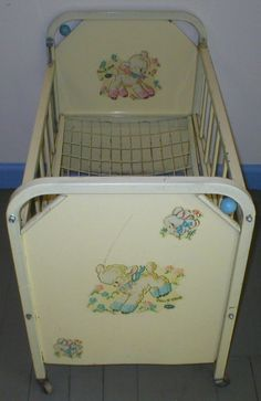 Vintage Antique Doll E Crib Bed Amsco Metal Rare Deluxe 1955 Model Swivel Wood…