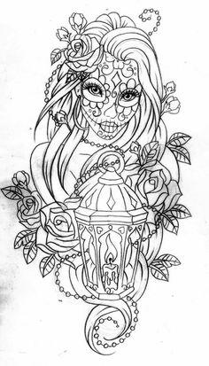 Beste Tattoo Mädchen Zeichnung Pin Up Sugar Skull Ideen - Tattoo Arts Bild Tattoos, Neue Tattoos, Body Art Tattoos, Sleeve Tattoos, Stencils Tatuagem, Tattoo Stencils, Trendy Tattoos, Tattoos For Women, Cool Tattoos