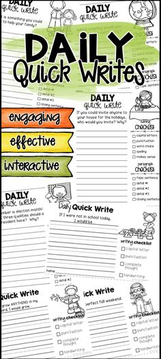 """An engaging way for students to """"quick write"""" about a topic from a given prompt. These encourage writers to express their ideas and their creativity. Quick writes should also be low-stakes, so all students can participate without fear of a bad grade. Journal Writing Prompts, Writing Lessons, Teaching Writing, Writing Activities, Writing Skills, Writing Ideas, 4th Grade Journal Prompts, Middle School Writing Prompts, Teaching Ideas"""