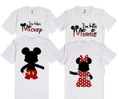I'm her Mickey & I'm his Minnie Mouse with back design matching T-shirts by My heart has ears. Available in Women's, Men's and Children's sizes as well! In a variety of colors and styles! Look here for Mickey: http://skreened.com/myhearthasears/i-m-her-mickey-with-back-design Here for Minnie: http://skreened.com/myhearthasears/i-m-his-minnie-with-back-design