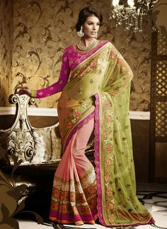 Peach & Green Soft Net Party Wear Saree