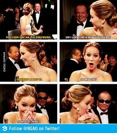 I think I may just be in love with Jennifer Lawrence. This was such a FUNNY moment. so totally inappropriate but SUPER funny! A Jenifer Lawrence And Jack Nicholson Funny Quotes J Law, Jack Nicholson, Funny Cute, The Funny, Super Funny, Freaking Hilarious, Seriously Funny, The Shining, Oscar 2013
