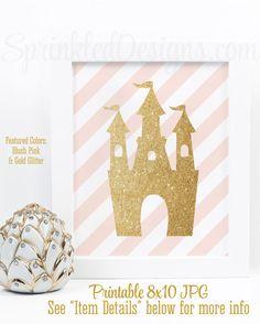 Princess Castle Art Print, Little Girl Princess Room Decor, Girl Nursery Wall Art, Princess Birthday Decorations, Blush Pink Gold Glitter
