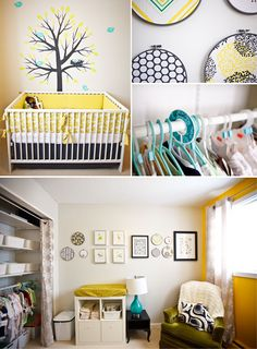 I love this nursery! I had already decided on gray walls and I was leaning toward yellow and then I saw this and now that is for sure what I want to do! I think I might copy cat this nursery, even the tree with birds. I don't like the solid yellow wall though, it's a little too bright and hard on the eyes.