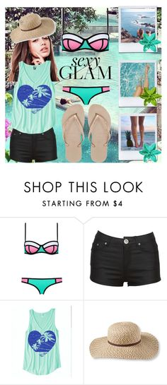 """SEXY BEACH GLAM"" by eshitapatel2001 ❤ liked on Polyvore featuring L.L.Bean and Havaianas"
