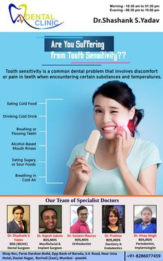 Are you suffering from tooth Senstivity? - Tooth sensitivity is a common name for dentin hypersensitivity or root sensitivity. If hot, cold, s - Oral Health, Dental Health, Tooth Pain Relief, Tooth Sensitivity, Acidic Foods, Receding Gums, Dental Problems, Cold Meals, How To Get Rid