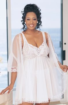 3 Piece Babydoll Set inWhite.    Beautiful 3 piece babydoll peignoir set with fitted stretch lace cups, full opaque tricot skirt and adjustable shoulder straps. Comes with matching G-string and 15 denier and sheer lace robe. Available in Hot Pink, Black, Plum, White.Material100% Nylon   Shop this product here: http://spreesy.com/voluptuousmisslingerie/1   Shop all of our products at http://spreesy.com/voluptuousmisslingerie      Pinterest selling powered by Spreesy.com