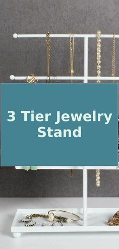 Jewelry Organizer Stand Diy | 3 Tier Jewelry Stand | Jewelry Organizer | Jewelry Organizer Stand Dressers Jewelry Organizer Stand, Jewelry Stand, Jewelry Organization, Fashion Jewelry Necklaces, Wire Jewelry, Fashion Necklace, Hope Diamond, Types Of Purses, Unique Purses