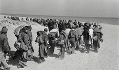 Spanish civil war refugees interned in a beach concentration camp at Argeles-sur-Mer in France, during the Spanish Civil War, ca. 1939.