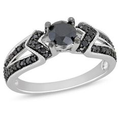 Shop For 1 CT. Enhanced Black Diamond Engagement Ring in Sterling Silver at Gordon's Jewelers - 1 CT. Enhanced Black Diamond Engagement Ring in Sterling Silver. Black Diamond Jewelry, Diamond Rings, Diamond Cuts, Gold Jewelry, Zales Jewelry, Diamond Gemstone, Jewelry Box, Engagement Ring On Hand, Black Diamond Engagement
