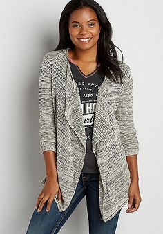 hooded drape front cardigan with textured stripes | maurices