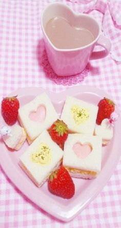 .Heart cut-out sandwiches and dessert bars - no recipe, idea only