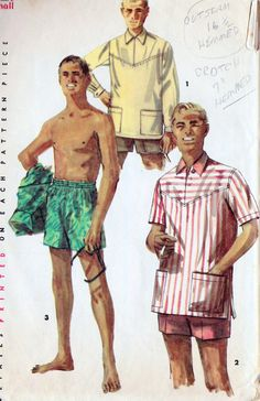 1950s Mens Shirt and Swimming Trunks Vintage Sewing Pattern Men's Cabana Set Simplicity 1629 size small