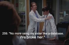 No More Using My Sister Like A Database. We Broke Her! [LOVE It When Meredith Protects Lexie!]