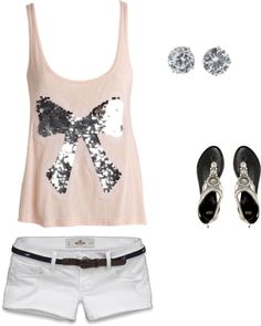 Bow tank, white shorts, sparkly earrings and sandals. . . Hello summer!