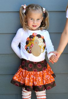 SO CUTE! Turkey shirt & skirt combo from etsy. Love this etsy store.
