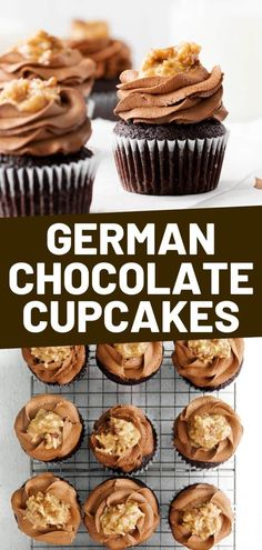 German Chocolate Cupcakes taste just like the classic cake. Rich chocolate cake is filled with a layer of sweet coconut and pecan frosting and chocolate ganache. These cupcakes are perfect for parties, potlucks, or for a deliciously rich dessert any day.