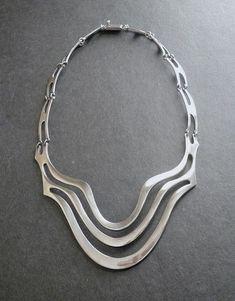 Erika Hult de Corral Modernist Sterling Necklace Taxco RIC