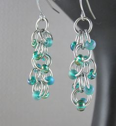 Stainless steel & glass bead Shaggy Loops earrings