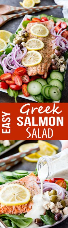 Easy Greek Salmon Salad is packed with easy cooked salmon, crunchy cucumbers, grape tomatoes, red onion, and feta and olives mix. #EasyForYouSeafood #ad