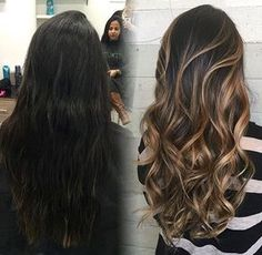 Caramel bayalage from dark brunette in 1 session.