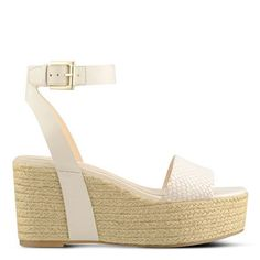 White Faux Snakeskin and Rope Edoile Wedge Sandals | Nine West
