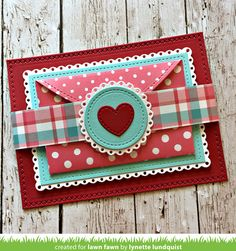 Lynette's Stitched Heart Envelope Fold-out Card | the Lawn Fawn blog | Bloglovin'