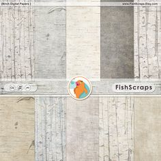 Birch Wood Digital Paper - Wooden Background Textures - Faux Bois - Rustic Woodland Christmas - Outdoor Wedding - Instant Download Papers