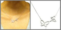 "NEW!!!!  So beautiful and elegant!!!  Sterling Silver CZ Double Butterfly Necklace.....$30  *Chain length 18"" (16"" + 2"" extender) www.facebook.com/groups/jewelrybycara"