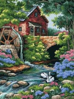 Dimensions Old Mill Cottage Needlepoint Kit - 30 x 41 cm. Discover more kits by Dimensions at LoveCrafts. From knitting & crochet yarn and patterns to embroidery & cross stitch supplies! Shop all the craft materials you need to start your next project. Needlepoint Designs, Needlepoint Stitches, Needlepoint Kits, Cross Stitch Supplies, Cross Stitch Kits, Cross Stitch Embroidery, Embroidery Patterns, Needlepoint Stockings, Tapestry Kits