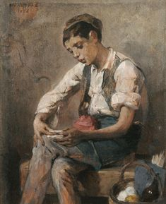 Nikiphoros Lytras Boy Rolling a Cigarette - The Largest Art reproductions Center In Our website. Low Wholesale Prices Great Pricing Quality Hand paintings for saleNikiphoros Lytras