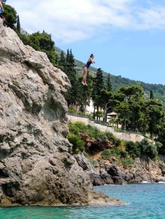 Cliff jumping in the spring Dubrovnik, Croatia