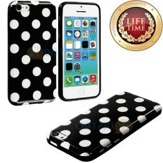 Amazon.com: myLife (TM) Black + White Polka Dots Case for the NEW iPhone 5C Touch Generation (Slim Bumper + Back Protector) Soft Silicone Ge...