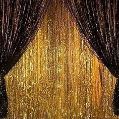 X Gold and Black Metallic Tinsel Foil Fringe Curtain Halloween Party Decoration Black And Gold Party Decorations, Black Gold Party, 1920s Party Decorations, Mascarade Party Decorations, Hollywood Decorations, Graduation Decorations, Birthday Party Celebration, 60th Birthday, Gatsby Party