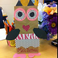 Owl valentine holder craft. such an idea for when I become a teacher!