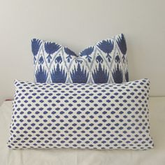 Blue Dotted Pillow Cover 12 x 20 Lumbar by IndigoBlissBoutique