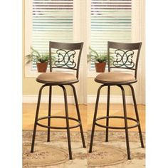 Bronze Finish Scroll Back Adjustable Metal Swivel Counter Height Bar Stools (Set of 2) overstock.com 84.99
