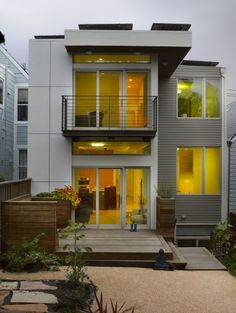 Believe it or not, this modern exterior by Levy Art Architecture is a bit like the mullet--all business in the front and a party in back. The front of this sf house in an established San Francisco neighborhood is a traditional Victorian! Modern Exterior, Exterior Design, Concrete Siding, Exterior Siding, Modern Landscaping, Modern Architecture, Residential Architecture, Building A House, House Plans