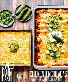 An easy dinner recipe for killer Chicken Enchiladas. Goes perfectly with the sweet corn cake for a delicious meal - a fantastic mix of sweet and spicy! Corn Cake Recipe Easy, Easy Cake Recipes, Baking Recipes, Mexican Breakfast Recipes, Mexican Dishes, Mexican Food Recipes, Chicken Cake, Corn Chicken, Entree Recipes