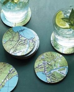 Upcycled maps into coasters