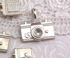 6 Large Silver Tone Metal CAMERA  Charm Pendants by SmartParts, $2.99