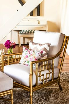 How about getting old wicker chairs and spray painting them gold?  Might even be good at puzzle table, since gold is my accent in that room.