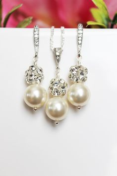 Wedding Jewelry Set, Bridal Earrings and Necklace Set, Pearl Drop Jewelry Set, Bridesmaids Jewelry Set, Mother of the Bride - FREE SHIPPING