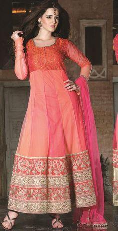 $174.28 Peach Faux Georgette Zardosi Work Anarkali Salwar Kameez 26877