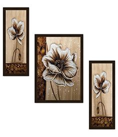 Avercart Flower / Floral Art / Colorful Flowers / Blooming Flora Set of 3 Poster inch with Photo Frame cm framed) Canvas Painting Projects, Painting Frames, Art Projects, Arte Floral, Canvas Wall Art, Wall Art Prints, Lotus Flower Art, Waterfall Paintings, Leaf Art