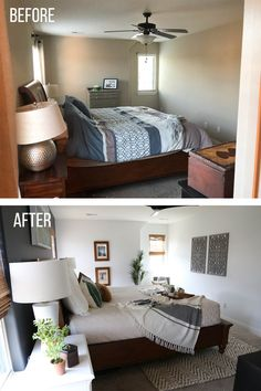 An amazing master bedroom makeover. This natural and modern style literally transformed this bedroom. Make sure to see all of the before and after shots too! - Master Bedroom Makeover - Thriving Home Small Master Bedroom, Master Bedroom Makeover, Master Room, Master Bedroom Design, Home Bedroom, Bedroom Furniture, Bedroom Decor, Bedroom Ideas, Bedroom Makeovers