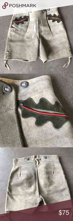 """💯authentic German Lederhosen 🇩🇪 New never worn Lederhosen from Germany. Excellent condition, nice stone gray color with side ties on the bottom and leaf design on pockets . Leather has natural irregularities, no size tag ,they would fit XXS for an adult or child sizes  They measure approx. 14.5"""" across waist laying flat, 19"""" across thighs, leg opening 10"""", length from top to bottom 16"""". Lederhosen like this run well over $100 in stores . These shorts would be perfect for festivals or…"""