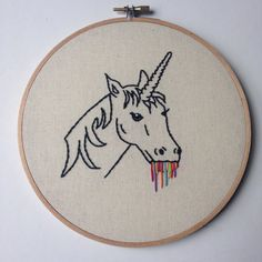 Rainbow Drool Unicorn 7 inch Hand Embroidered Wall by StitchYouUp