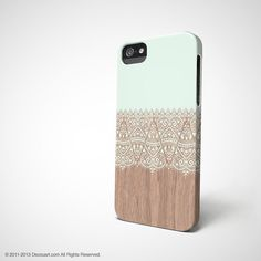 Mint Floral iPhone 4 case, iPhone 5s case, iPhone 5 case, mint wood beige boho S633, christmas gift