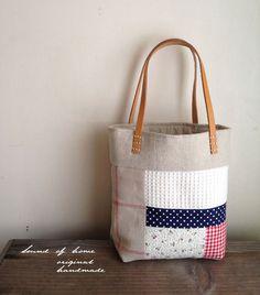 Natural patchwork leather  small bag lunch bag mori girl Japan handmade zakka